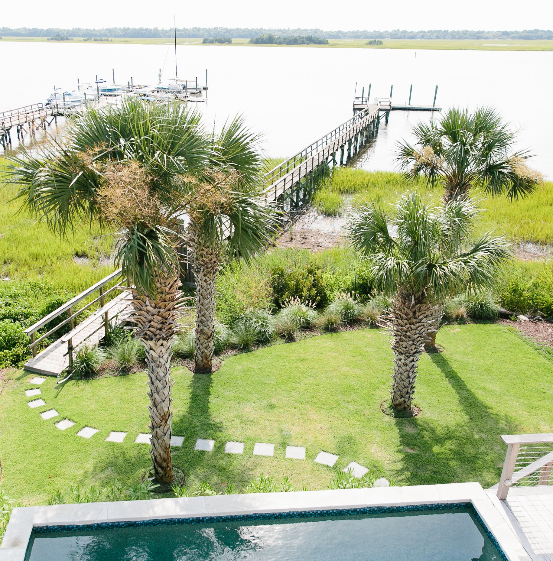 custom dock at new home in Charleston