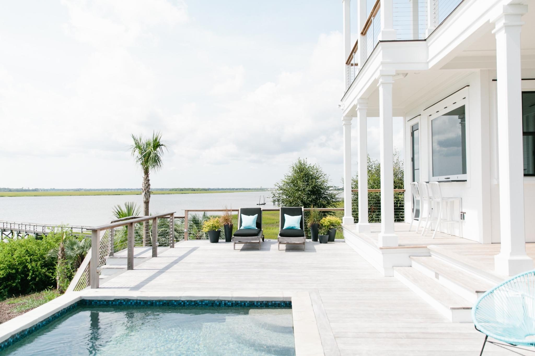 pool and porch at custom home in Charleston