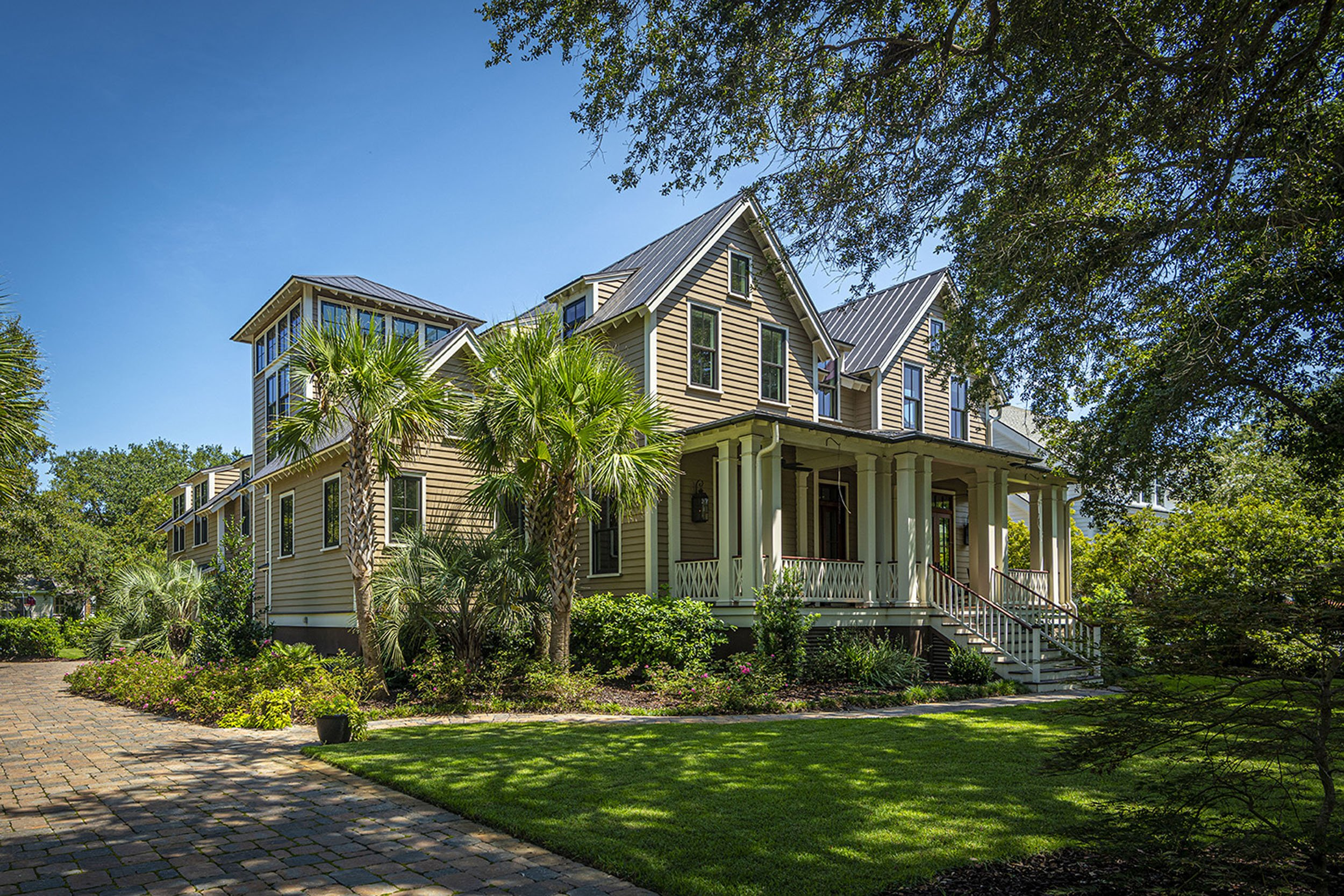 exterior shot of beautiful new custom home in Old Village