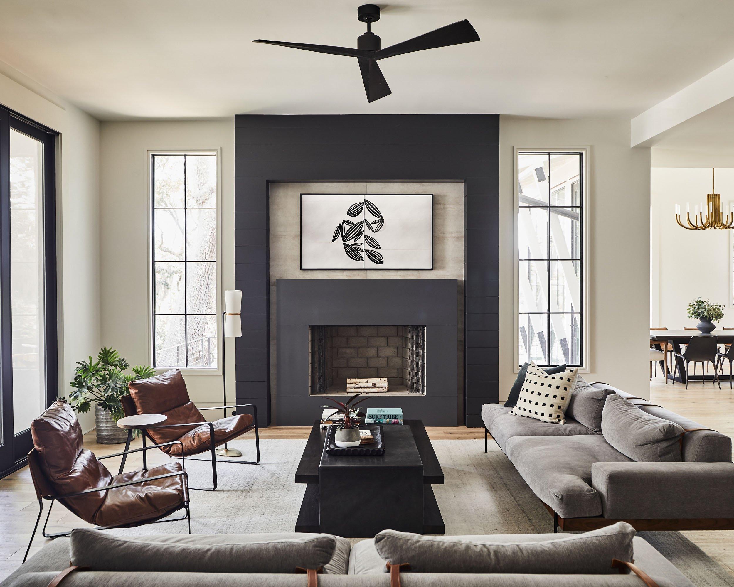 modern style living room in new custom home