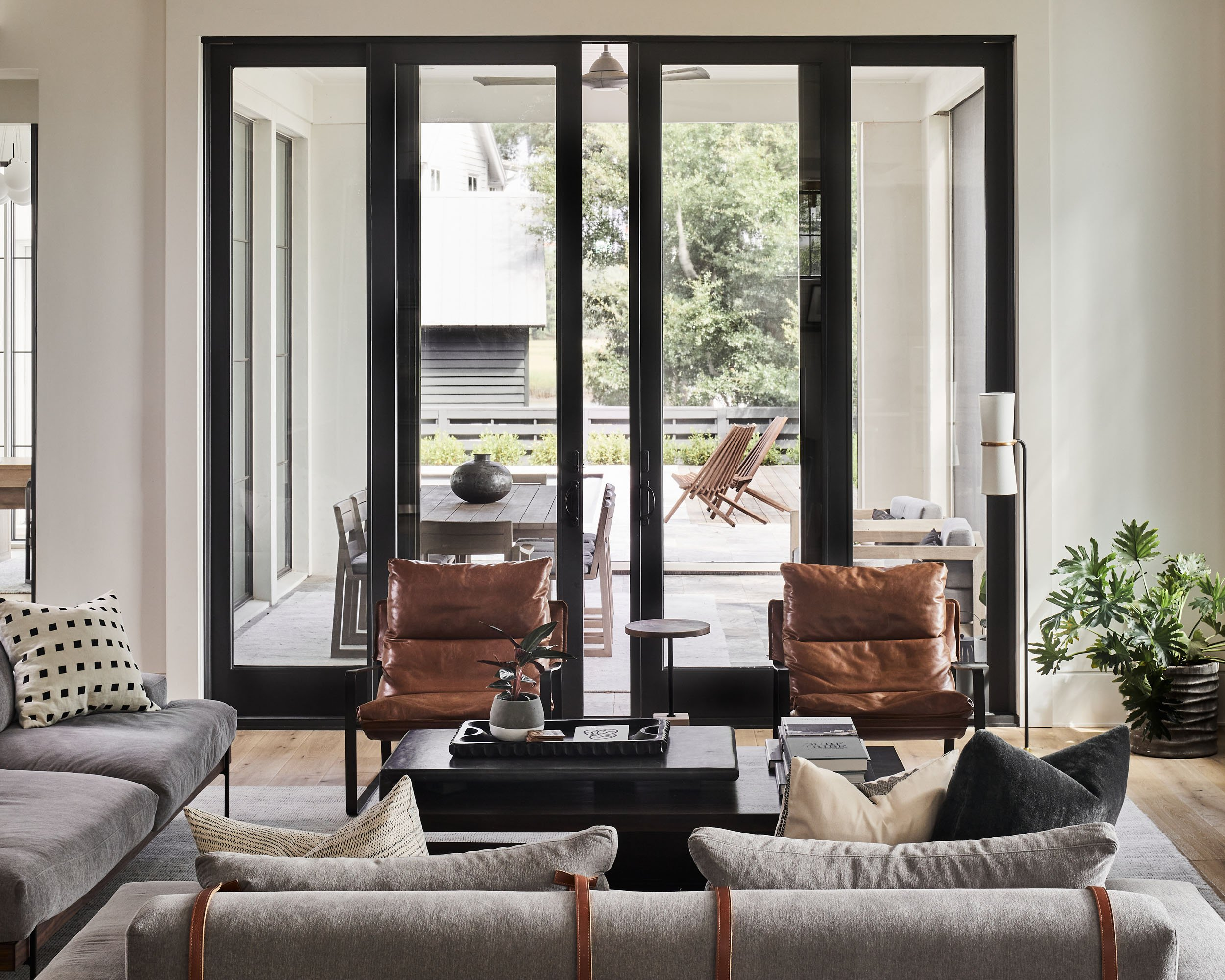 living room interior of custom home in Hobcaw by Madigan Projects